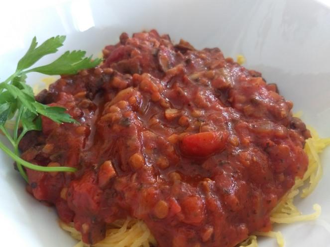 Spaghetti Squash with Mushroom & Lentil Sauce
